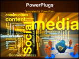 PowerPoint Template - Word cloud tags concept illustration of social media glowing light effect