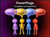 PowerPoint Template - Social media 3d characters talk in speech bubbles joined in chain links