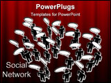 PowerPoint Template - People meeting in a Social Media Network discuss in communication Speech Bubbles