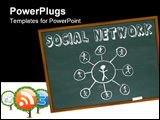 PowerPoint Template - A grid of connected people drawn on a chalkboard with the words Social Network over it