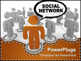 PowerPoint Template - A social network depicted by figure in forefront speaking the words SOCIAL NETWORK