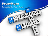PowerPoint Template - Social Media Network (blue-white cubes crossword series)