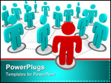 PowerPoint Template -  red figure stands at the forefront of a group of blue figures all interconnected in a social netwo