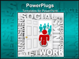 PowerPoint Template - A door opens to social networking surrounded by words like communication links and connections