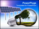 PowerPoint Template - solar system with solar panels and lamp