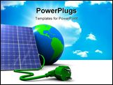 PowerPoint Template - abstract 3d illustration of solar panel with earth globe over white background