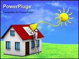 PowerPoint Template - man who installs a solar energy system on a house