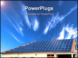 PowerPoint Template - alternative energy Solar panel on blue background