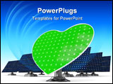 PowerPoint Template - Green heart shaped solar panel in front of blue classic shaped solar panels