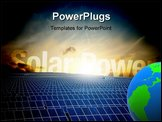 PowerPoint Template - View of a roof covered with photovoltaic installations