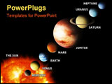 PowerPoint Template - an illustrated diagram showing the order of planets in our solar system