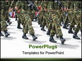 PowerPoint Template - soldiers marching in an army parade