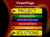 PowerPoint Template - Illustration of a set of project management buttons illustrating SWOT analysis.