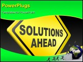 PowerPoint Template - solution ahead, answer to solve all your problems, resolution yellow warning road sign
