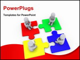 PowerPoint Template - Four 3d people sitting on different puzzle pieces
