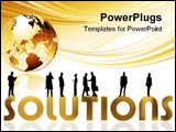 PowerPoint Template - a illustration ob business people silhouettes on black background