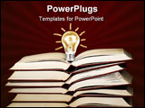 PowerPoint Template - Lit light bulb on the stack of books ,can be used as concept for education,ideas,solution