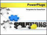 PowerPoint Template - This is a 3D render of the word: Solution, with light bulb