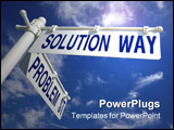 PowerPoint Template - street post with solution way and problem st signs
