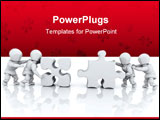 PowerPoint Template - 3D render of men solving jigsaw puzzles
