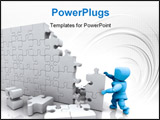 PowerPoint Template - 3D render of a man solving a jigsaw puzzle