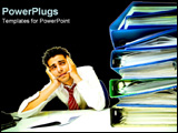 PowerPoint Template - Man sitting exhausted at his desk.