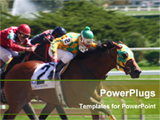 PowerPoint Template - horse rider are perticipating on racing