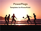 PowerPoint Template - people are playing football during sunset in a beach