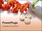 PowerPoint Template -  beautiful orchid towels aromatic candles and bamboo plant**Note slight graininess, best at small s