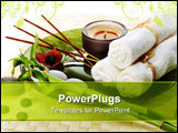 PowerPoint Template - spa still life with candles incense sticks white towelspebbles