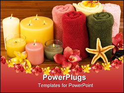PowerPoint Template - aromatic candles elegant orchids and cotton towels in a spa