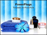 PowerPoint Template - spa essentials in blue on white background reflective surface