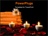 PowerPoint Template - candles and flowers before towel at night .
