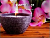 PowerPoint Template - Spa candle and orchid on bamboo mat