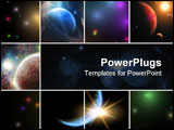 PowerPoint Template - Multiple View of the universe with planets
