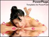 PowerPoint Template - A woman lays on reflective surface with flowers in spa-like room.