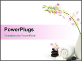 PowerPoint Template - Orchids towels pebbles and candle over white