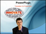 PowerPoint Template - Speech bubble with the word innovate on white background.