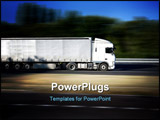 PowerPoint Template - A white semi-trailer traveling on a highway
