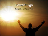 PowerPoint Template - A man proclaiming victory after reaching the end of his journey against a sunset sky.