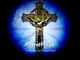 PowerPoint Template - Photo of a religious cross sky lighted and spotlighted.