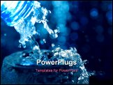 PowerPoint Template - Bottle with creative splashing water.Macro of water poured into a glass of water