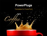 PowerPoint Template - Crown splash of coffee isolated on a black background