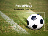 PowerPoint Template - the picture shows a soccer ball lying on lawn