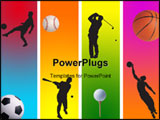 PowerPoint Template - 3 football golf baseball and basketball in graphic style
