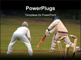 PowerPoint Template - Action photo of people playing cricket