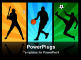 PowerPoint Template - baseball, basketball and soccer player silhouettes on the abstract background