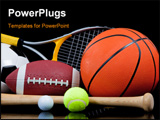 PowerPoint Template -  group of sports equipment on black background including tennis basketball baseball american fotbal