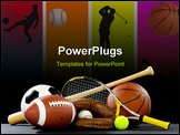 PowerPoint Template -  variety of sports equipment on a black background including an american football a soccer ball a b