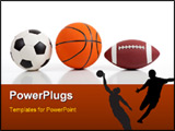 PowerPoint Template - Assorted sports equipment on white including a basketball a soccer ball and an American Football